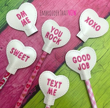 Heart Pencil Topper Set